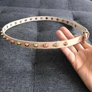 Two tone studded beige belt silver and rose gold